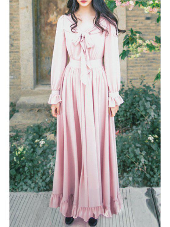 affordable Pink V Neck Long Sleeve Maxi Dress - PINK S