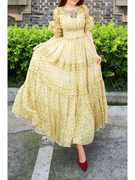 online Tiny Floral Print Short Sleeve Maxi Dress - YELLOW S