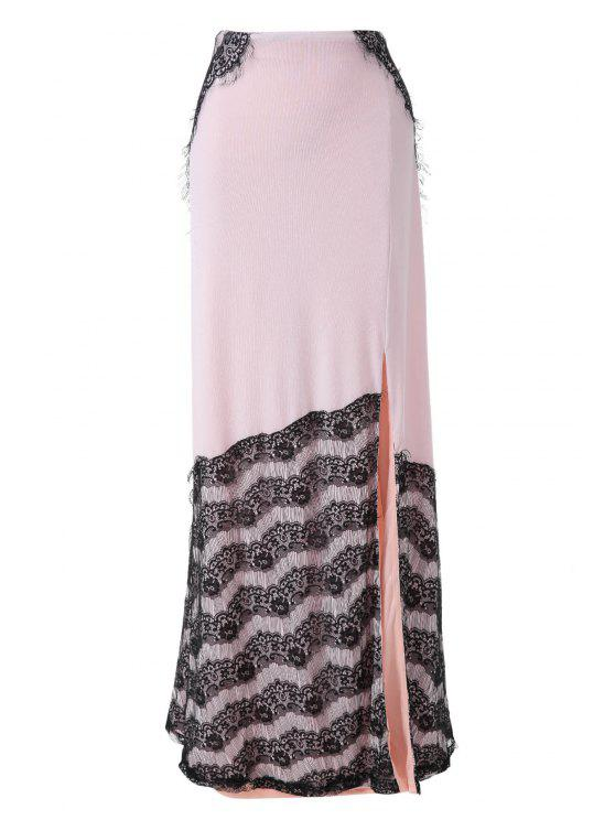 online Black Lace Splicing Split Skirt - OFF-WHITE S