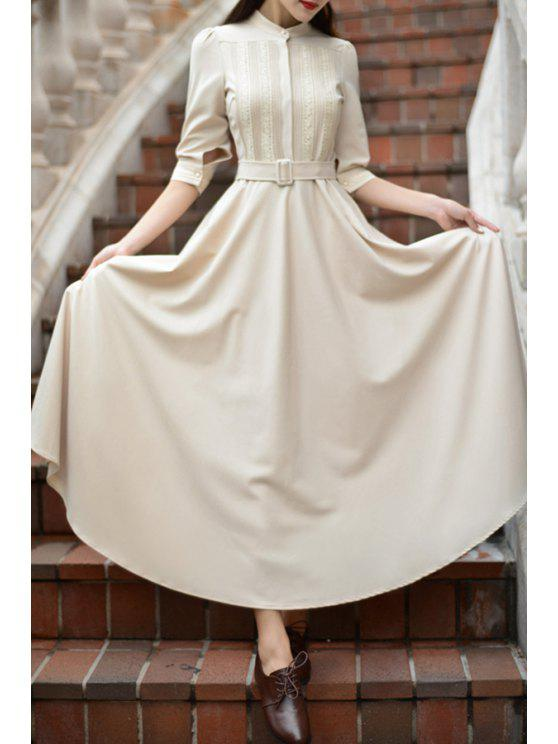 outfit Apricot Stand Neck Half Sleeve Maxi Dress - APRICOT S