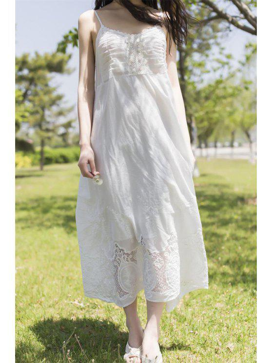 latest Cami White Lace Spliced Dress - WHITE ONE SIZE(FIT SIZE XS TO M)