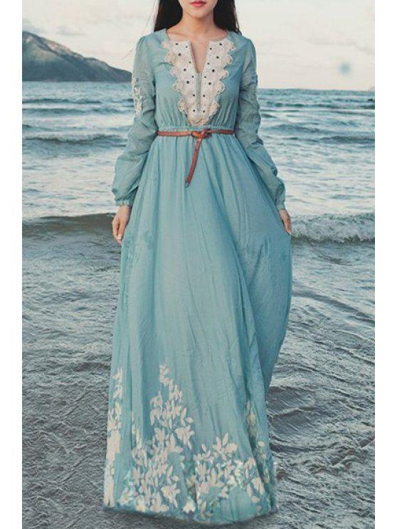 unique Flower Embroidered Long Sleeve Maxi Dress - AZURE S