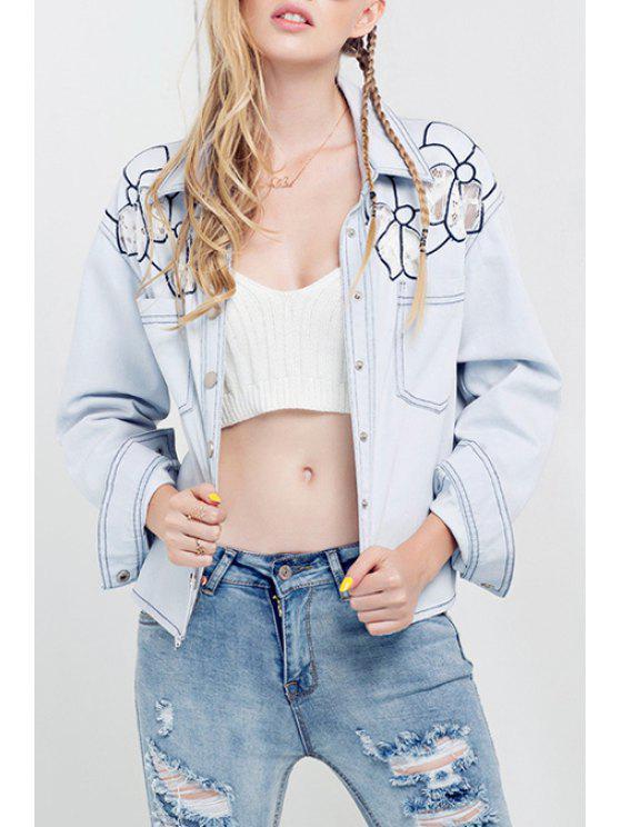 chic Bleach Wash Embroidered Denim Jacket - LIGHT BLUE S
