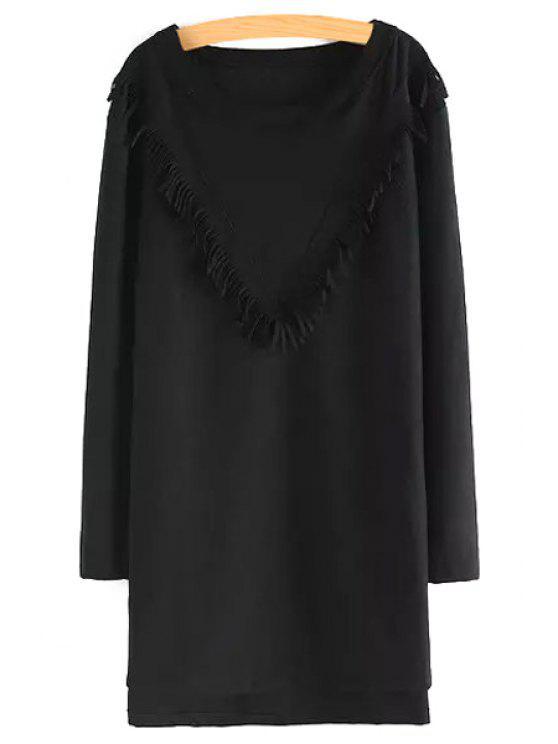 shop Tassels Splicing Long Sleeve Dress - BLACK S