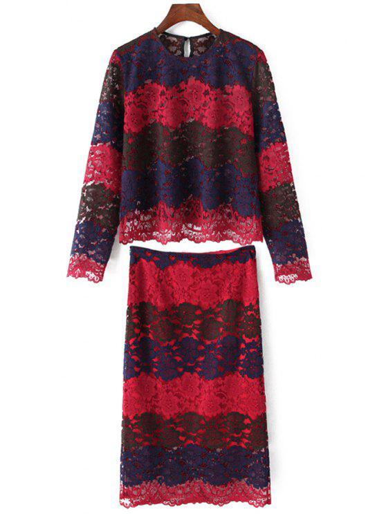Cuello redondo cuello manga larga blusa y falda traje - Rojo L