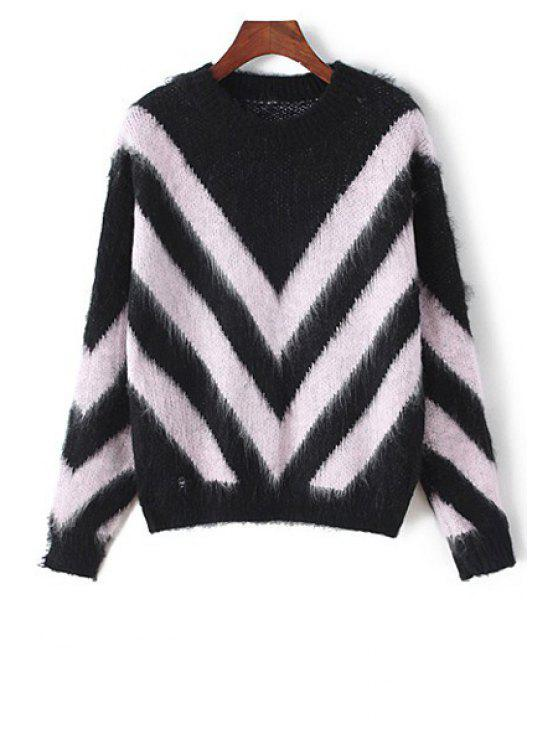 chic Irregular Print Round Collar Long Sleeves Sweater - PINK ONE SIZE(FIT SIZE XS TO M)