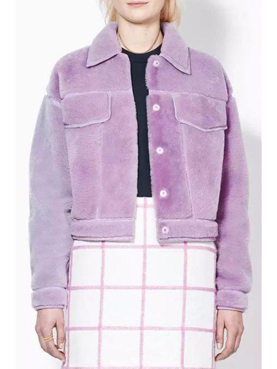 unique Faux Fur Turn-Down Collar Long Sleeves Coat - PURPLE S