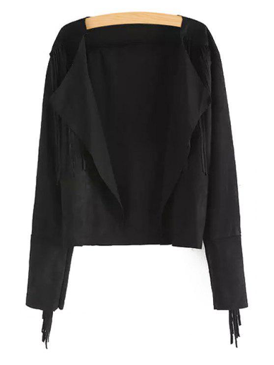 hot Turn Down Collar Tassels Splicing Coat - BLACK S