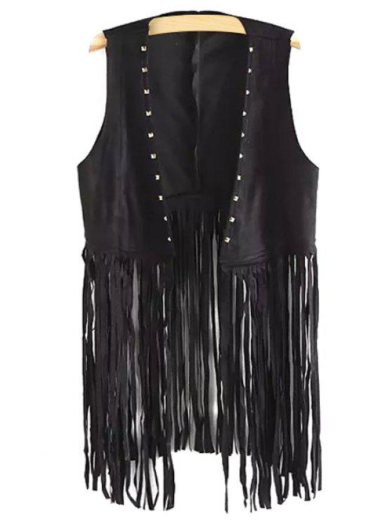 lady Tassels Spliced Collarless Waistcoat - BLACK ONE SIZE(FIT SIZE XS TO M)