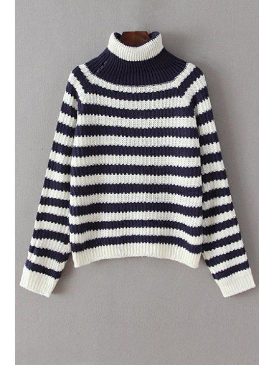 sale Striped Loose Fitting Turtle Neck Long Sleeves Sweater - WHITE ONE SIZE(FIT SIZE XS TO M)