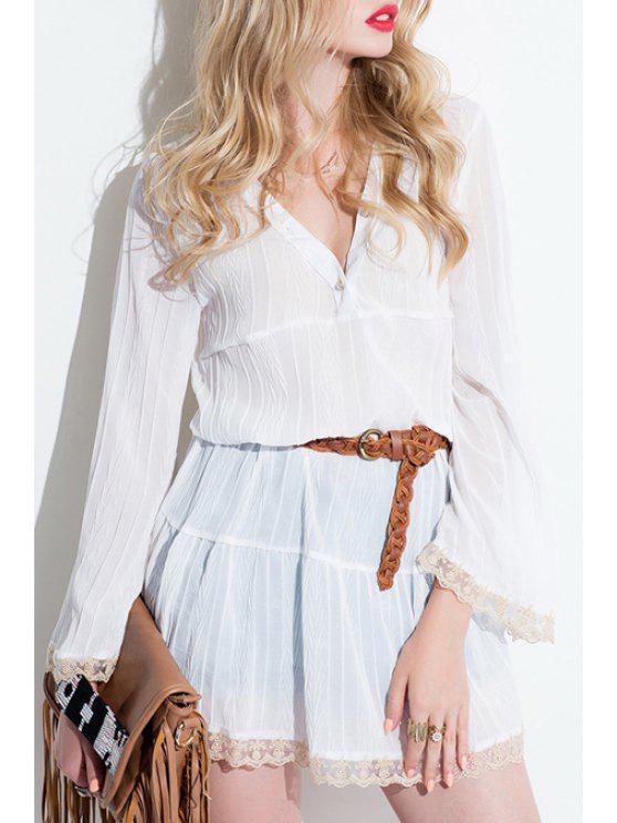 hot Bell Sleeve Lace Hem White Dress - WHITE S