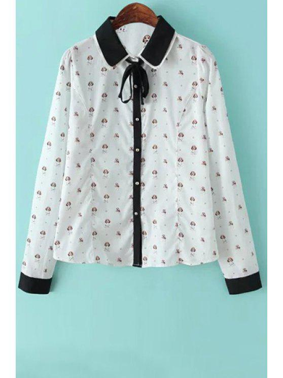 fancy Tiny Cartoon Print Flat Collor Long Sleeves Shirt - WHITE S