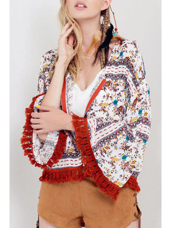 sale Floral Print Fringed Zip-Up Jacket - WHITE S