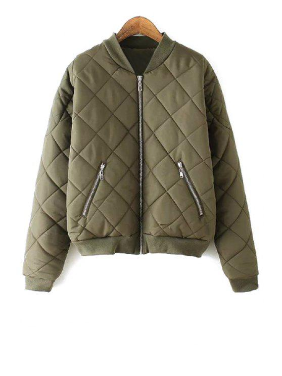 new Argyle Pattern Solid Color Stand Collar Thicken Coat - ARMY GREEN L