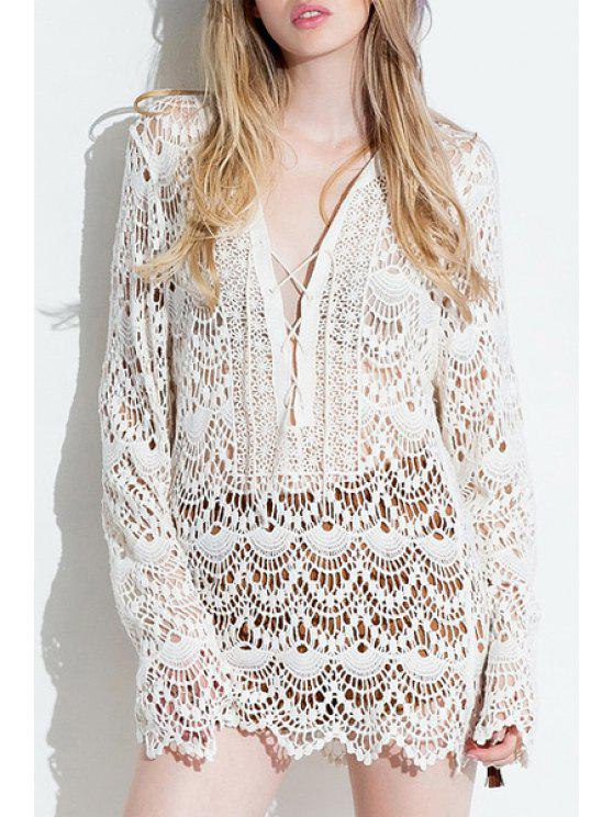 chic Plunging Neck Hollow Out Lace Dress - WHITE ONE SIZE(FIT SIZE XS TO M)