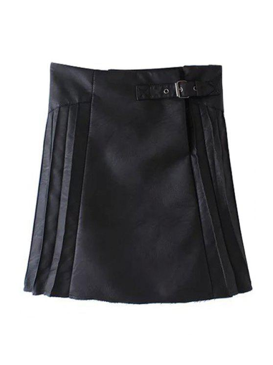 ladies PU Leather Pleated Solid Color Skirt - BLACK S