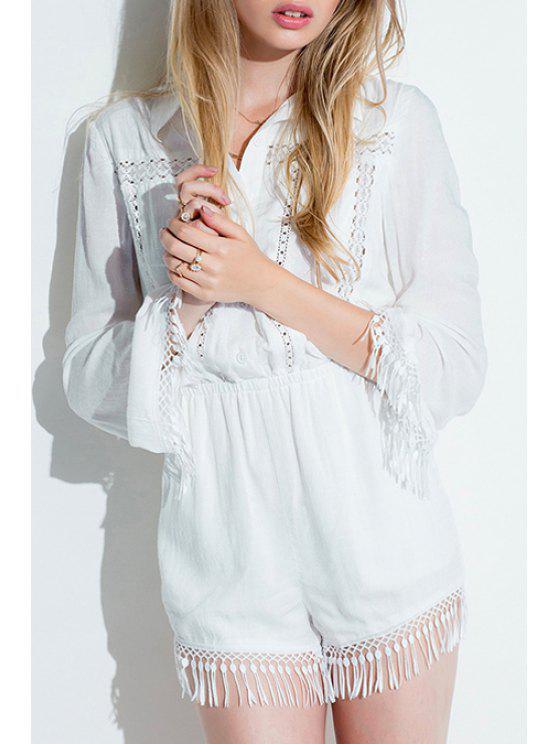 fashion White Elastic Waist Fringed Romper - WHITE XS