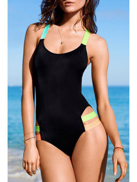 ladies Color Block U Neck One-Piece Swimwear - BLACK S