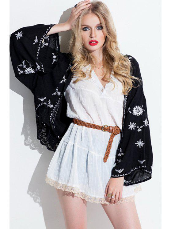 womens Embroidered Lace Hem Blouse - BLACK ONE SIZE(FIT SIZE XS TO M)