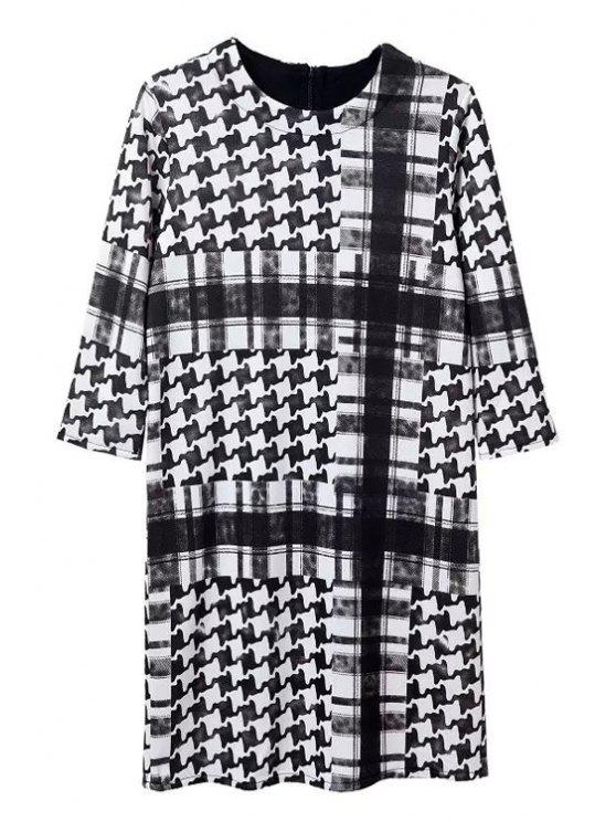 latest Checked and Houndstooth Print Round Collar Dress - AS THE PICTURE S