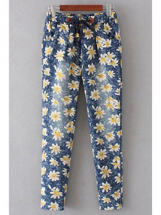 best Denim Floral Print Women's Pockets Pants - BLUE S