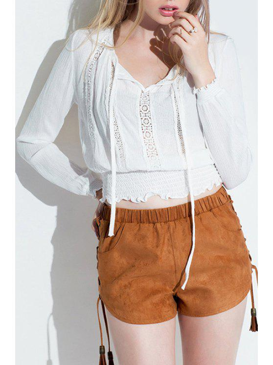 hot Long Sleeve Openwork White Blouse - WHITE S