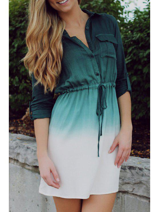 outfits Ombre Color Shirt Neck Dress - BLACKISH GREEN S