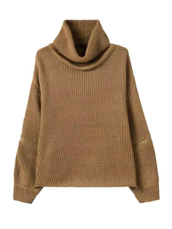 latest Solid Color Zipper Embellishment Turtle Neck Sweater - KHAKI ONE SIZE(FIT SIZE XS TO M)