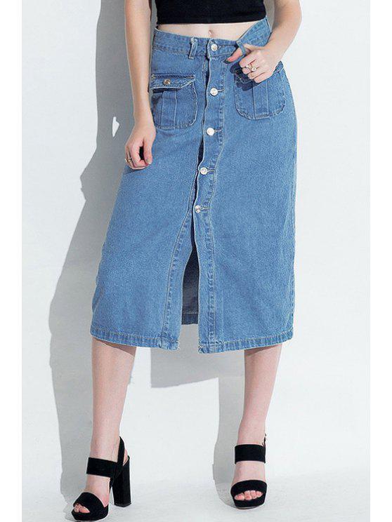 buy Front Slit Light Blue Denim Skirt - LIGHT BLUE M