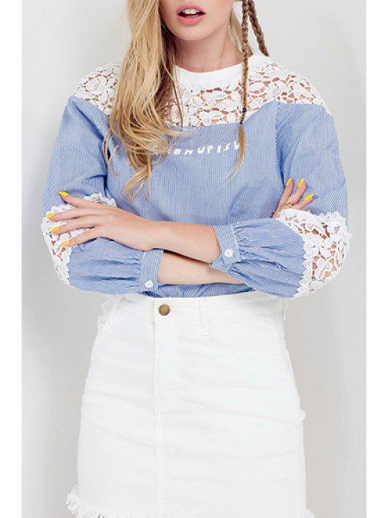 shop Lace Patchwork Striped Fall Top - LIGHT BLUE ONE SIZE(FIT SIZE XS TO M)