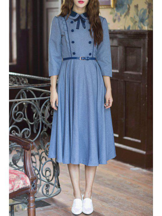 unique Solid Color Turn Down Collar 3/4 Sleeve Dress - BLUE S