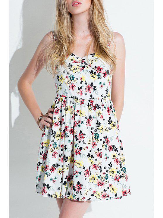 best Spaghetti Strap Tiny Floral Dress - WHITE XS
