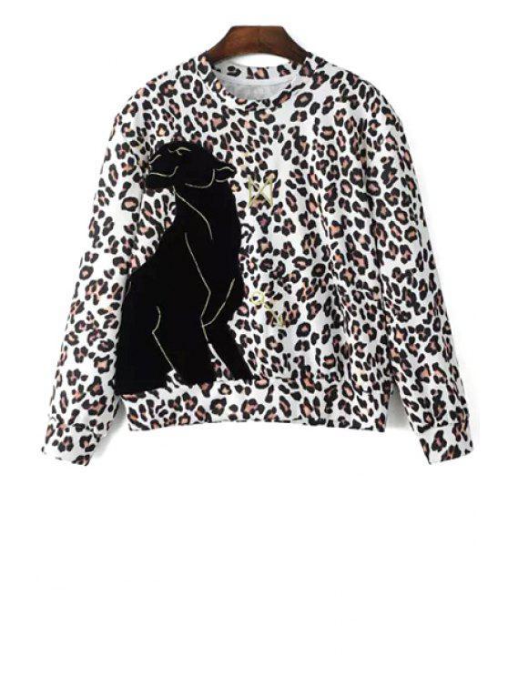 outfits Applique Patch Leopard Print Long Sleeves Sweatshirt - LEOPARD XS