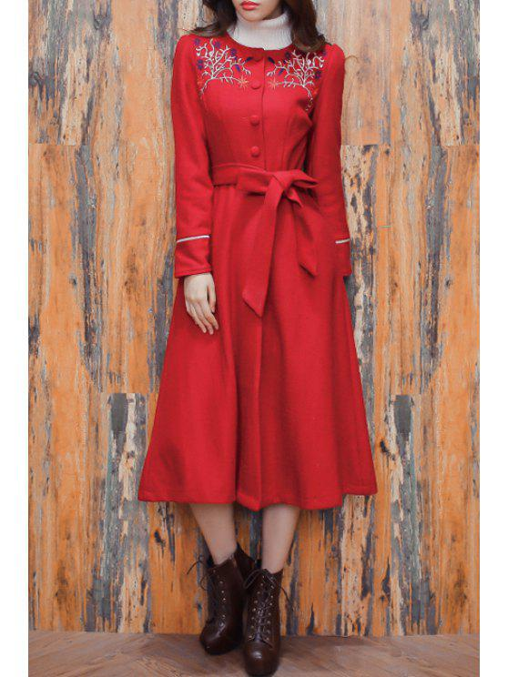 sale Red Worsted Round Neck Long Sleeve Coat - CLARET S