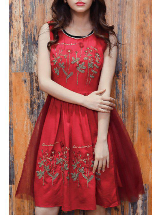 ladies Floral Embroidery Sleeveless Red Dress - RED S
