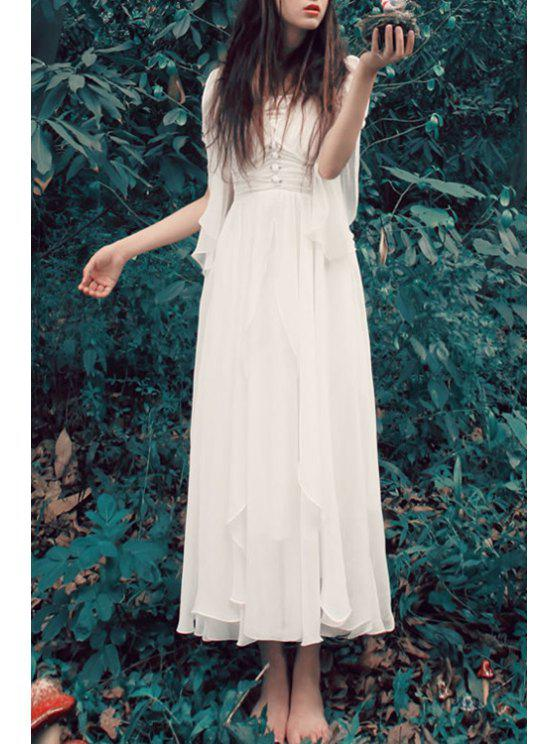 lady V Neck Solid Color Chiffon Dress - WHITE S