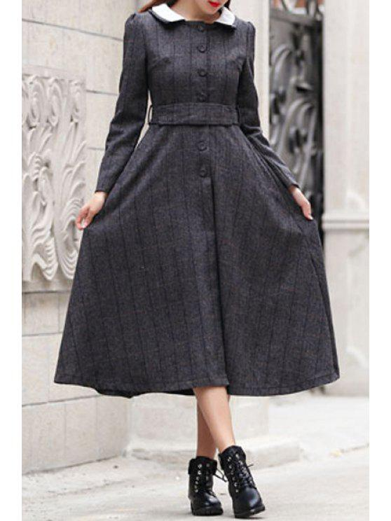 ladies Checked Turn Down Collar Long Sleeves Dress - AS THE PICTURE S