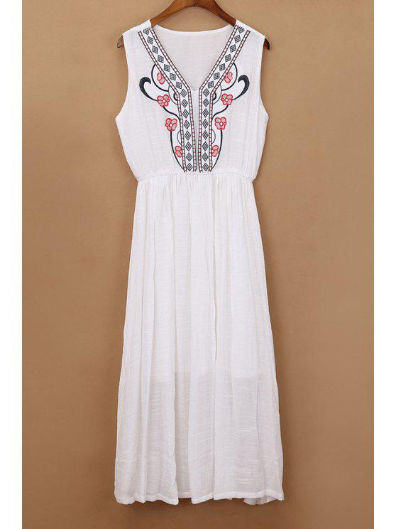 hot Flower Embroidery V Neck Sleeveless Dress - WHITE ONE SIZE(FIT SIZE XS TO M)
