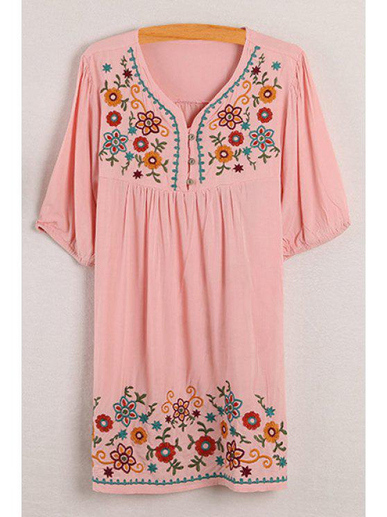 buy Floral Embroidery V Neck Half Sleeve Dress - PINK ONE SIZE(FIT SIZE XS TO M)
