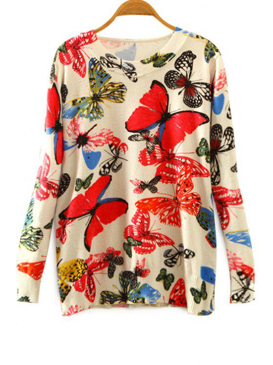 outfit Butterfly Print Round Collar Long Sleeves Sweater - COLORMIX ONE SIZE(FIT SIZE XS TO M)