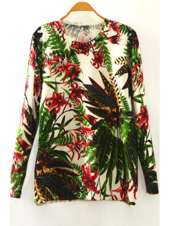 outfits Flower Print Round Collar Long Sleeves Sweater - COLORMIX ONE SIZE(FIT SIZE XS TO M)