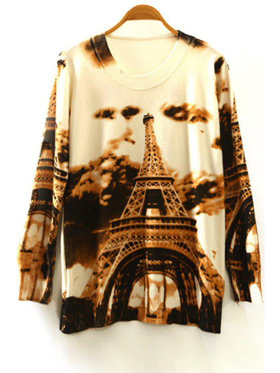 shops Tower Print Round Collar Long Sleeves Sweater - COLORMIX ONE SIZE(FIT SIZE XS TO M)