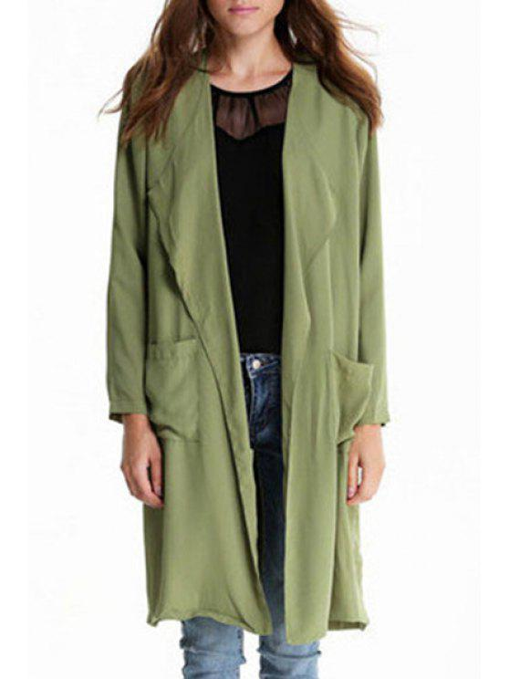 affordable Epaulet Embellished Green Trench Coat - ARMY GREEN S