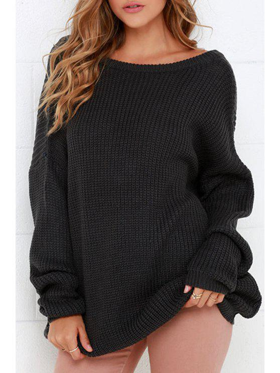 shops Round Neck Low Back Sweater - BLACK ONE SIZE(FIT SIZE XS TO M)