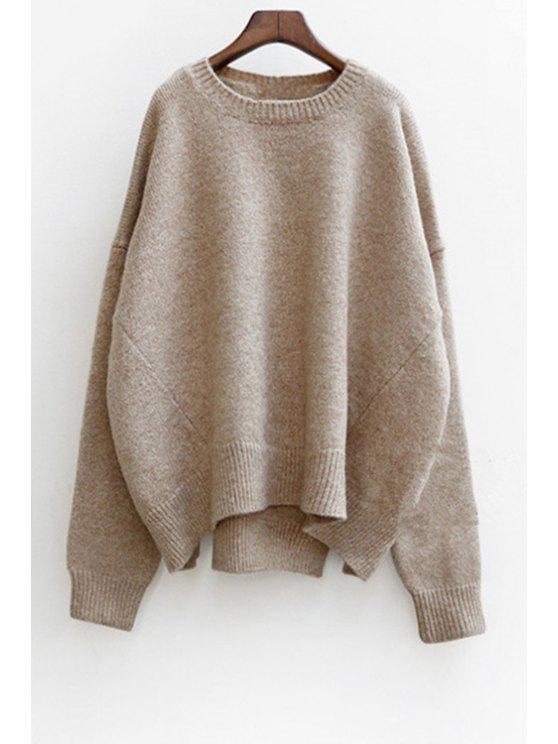 sale Solid Color High-Low-Hem Batwing Sleeves Sweater - KHAKI ONE SIZE(FIT SIZE XS TO M)