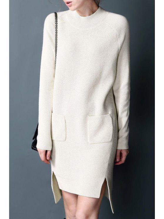 unique High Low Hem Sweater Dress - WHITE ONE SIZE(FIT SIZE XS TO M)