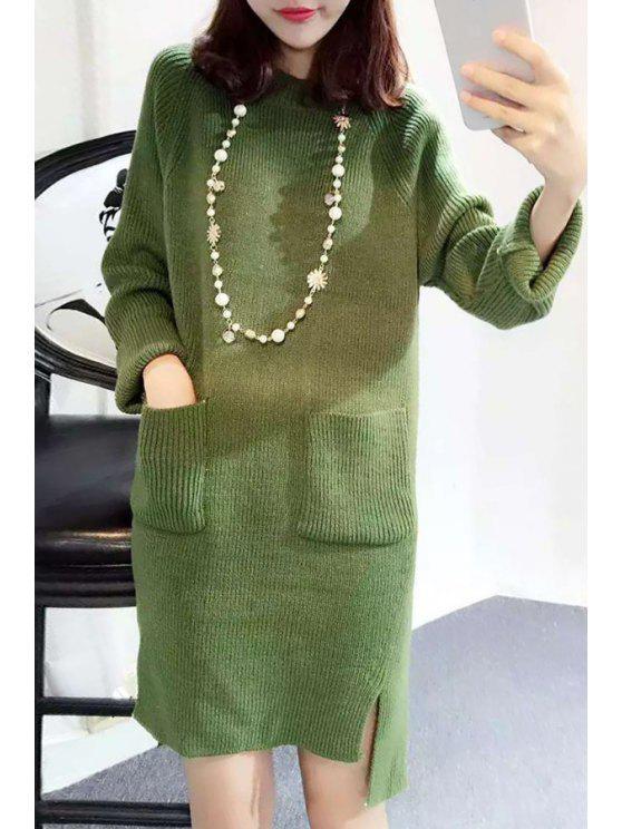 High Low Hem Sweater Dress - Verde Un tamaño(Montar tam