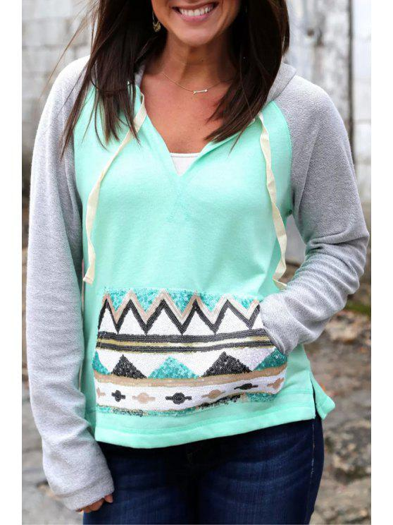 sale Hooded Color Block Pullover Hoodie - TURQUOISE S