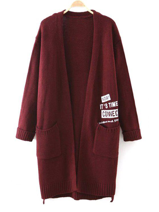 womens Letter Print Long Sleeve Long Cardigan - RED ONE SIZE(FIT SIZE XS TO M)