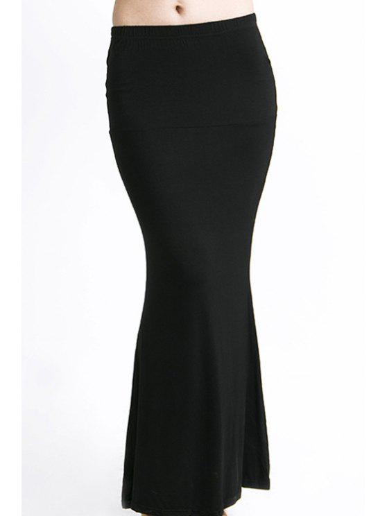 latest Packet Buttock Fishtail Solid Color Skirt - BLACK XL